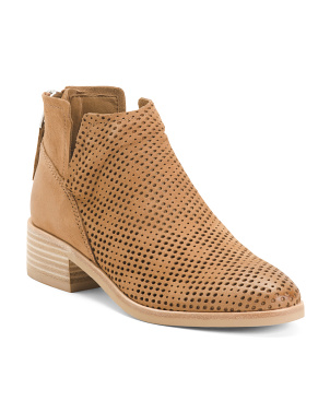 Stacked Heel Perforated Leather Booties