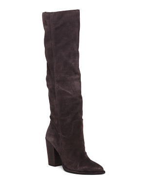Suede Knee High Pointed Toe Boots