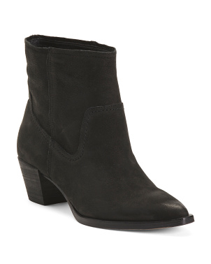 Suede Pointy Toe Stacked Heel Booties