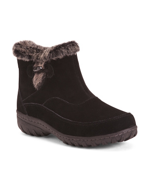 Short Faux Fur Collar Suede Boots