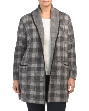 Plus Long Sleeve Whipstitch Plaid Cardigan
