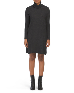 Made In Italy Cashmere Blend Ribbed Sweater Dress