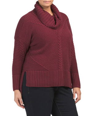 Plus Long Sleeve Cowl Neck Pullover Sweater