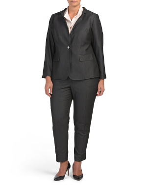 Plus Novelty Notch Collar Pant Suit