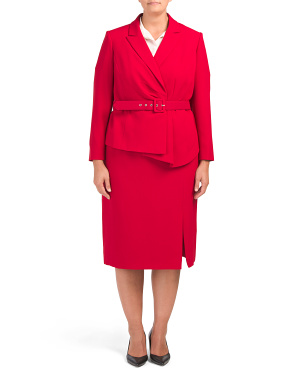 Plus Pebble Crepe Skirt Suit With Jacket