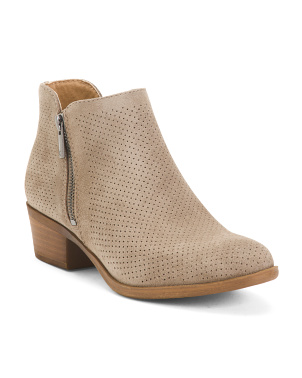 Suede Perforated Ankle Booties