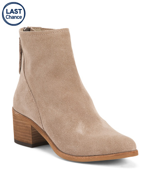 Almond Toe Stacked Heel Suede Ankle Booties