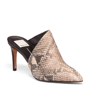 Snake Print Embossed Leather Heels