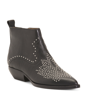 Studded Leather Booties
