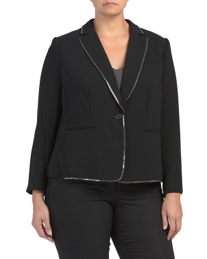 Plus Notch Collar Studded  Jacket