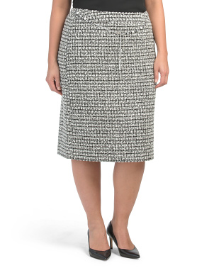 Plus Belted Boucle Pencil Skirt