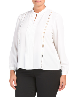 Plus Long Sleeve Collarless Pleat Front Georgette Blouse