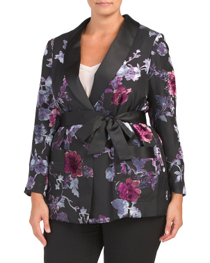 Plus Satin Trim Belted Smoking Jacket