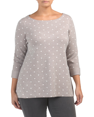 Plus Long Sleeve Polka Dot Pullover Sweater