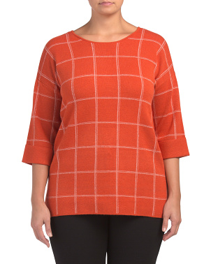 Plus Double Knit Windowpane Pullover Top