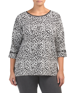Plus Sleeve Leopard Crew Neck Sweater