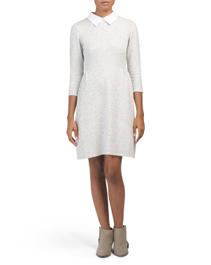 Fit And Flare Sweater Dress With Collar