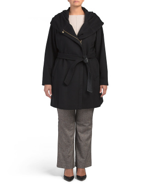 Plus Wool Blend Zip Front Jacket