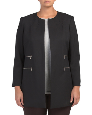 Plus Twill Topper Long Sleeve Jacket