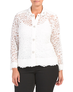 Plus Scallop Lace Button Front Blouse