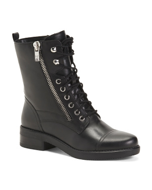 Lace Up Leather Combat Boots