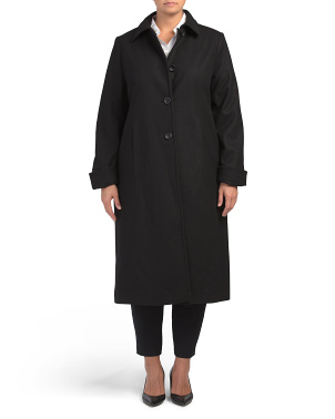 Plus Long Wool Blend Coat With Back Belt Detail