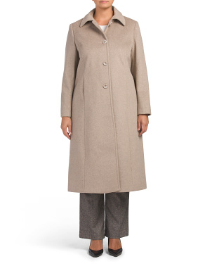 Plus Long Wool Blend Back Belt Coat
