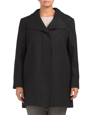 Plus Wool Blend Layover Collar Coat