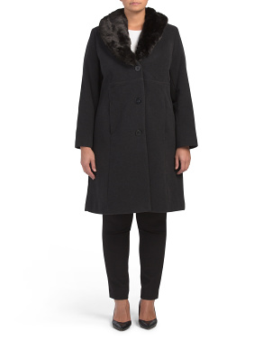 Plus Wool Blend Coat With Faux Fur Collar
