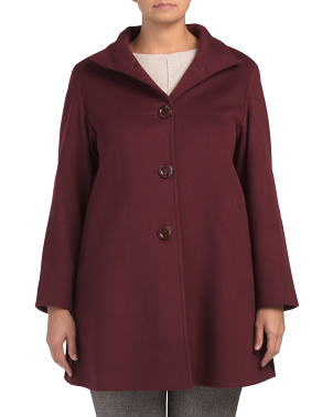 Plus Made In Italy Wool Blend Swing Coat