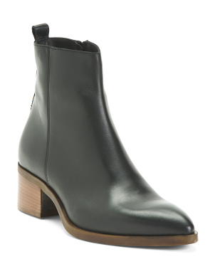 Made In Italy Stacked Heel Leather Booties
