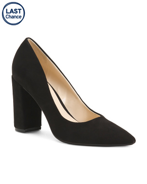 Pointy Toe Block Heel Suede Pumps