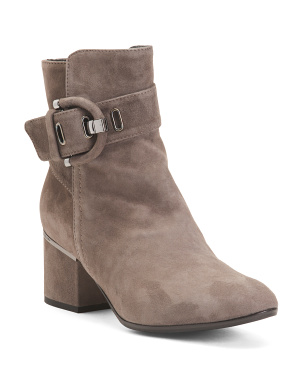Made In Italy Suede Booties With Buckle Detail