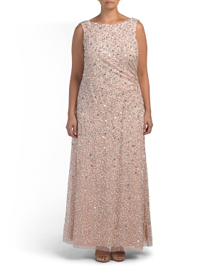 Plus Sequin Embellished Gown With Draped Cowl Back