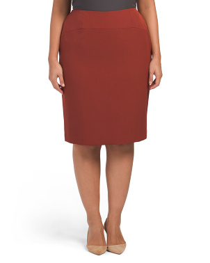 Plus Stretch Crepe Slim Skirt