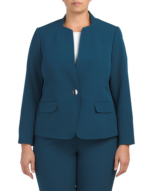 Plus Button Stand Collar Stretch Jacket