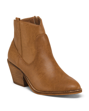 Stacked Heel Western Booties
