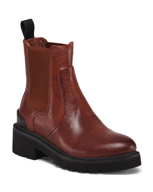 Lug Sole Leather Chelsea Boots