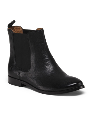 Pull On Leather Chelsea Boots