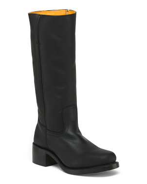 Pull On Leather High Shaft Boots