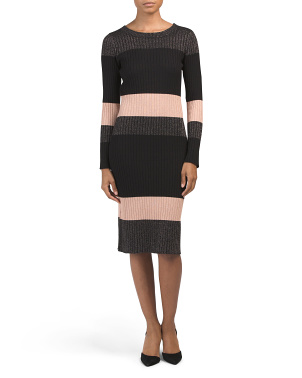 Long Sleeve Color Block Metallic Dress