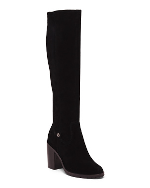 High Shaft Stretch Suede Boots