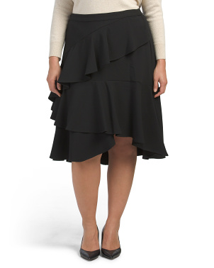 Plus Tiered Ruffle Crepe Skirt