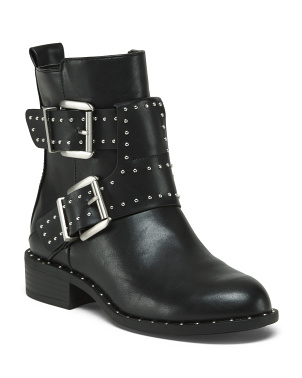 Studded Double Buckle Boots