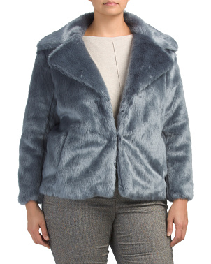 Plus Faux Mink Cropped Jacket