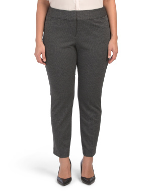 Plus Melange Herringbone Ankle Pants