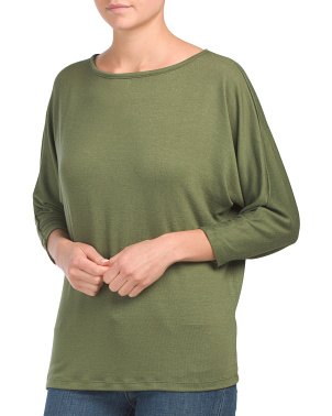 Three-quarter Sleeve Hacci Knit Top