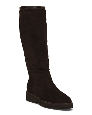 Made In Italy Weatherproof Suede Slouchy Boots