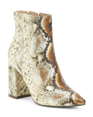 Snake Embossed Architectural Block Heel Booties