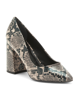 Pointy Toe Architectural Block Heel Pumps
